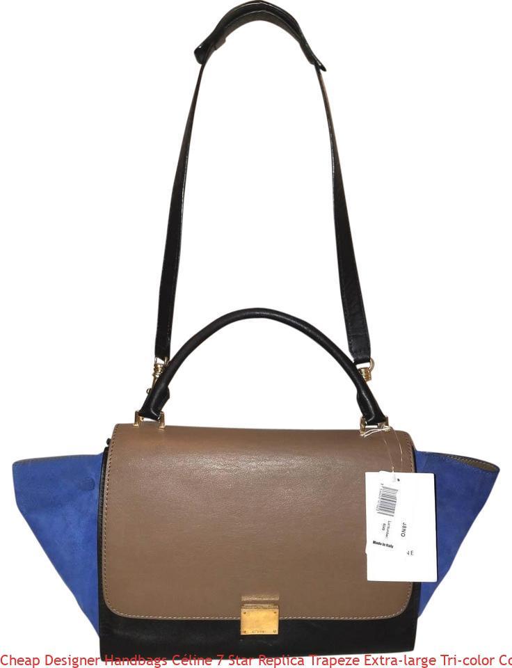 20c5bcc2c2 Cheap Designer Handbags Céline 7 Star Replica Trapeze Extra-large Tri-color  Convertible Handbag Black Brown and Blue Calfskin Leather Suede Hobo Bag  luxury ...