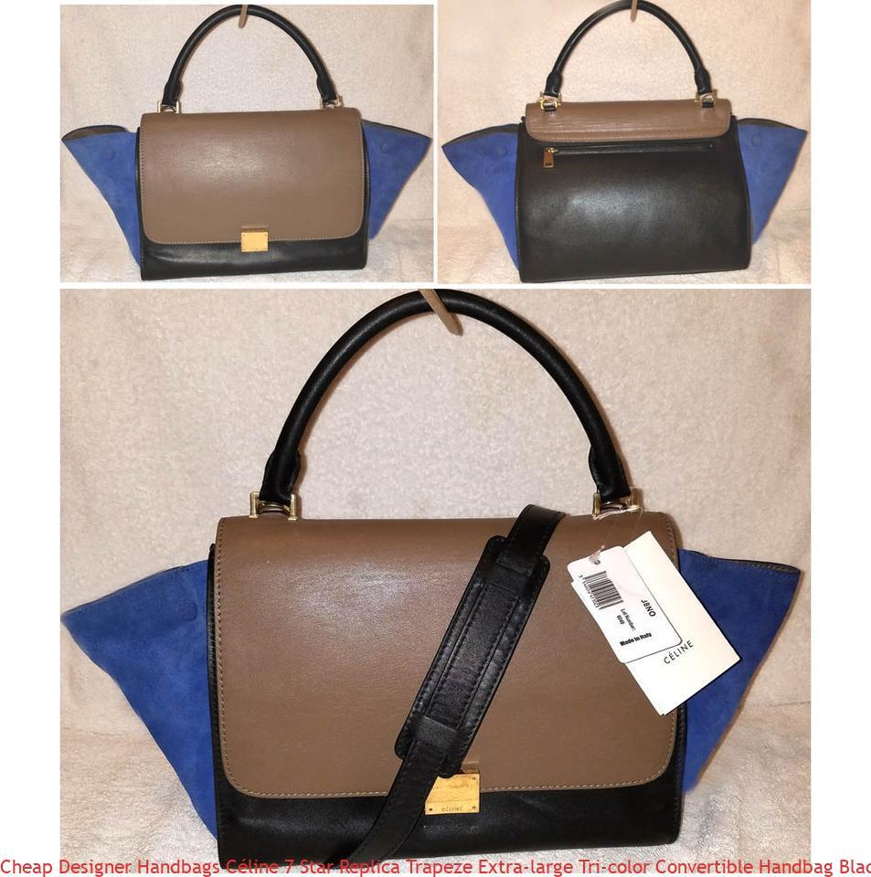 7eeb25638948 Cheap Designer Handbags Céline 7 Star Replica Trapeze Extra-large Tri-color  Convertible Handbag Black Brown and Blue Calfskin Leather Suede Hobo Bag  luxury ...