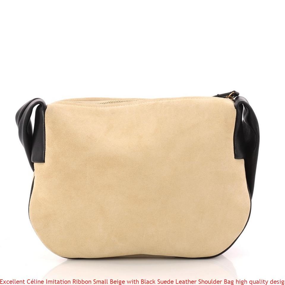 0551e35e8b8a Excellent Céline Imitation Ribbon Small Beige with Black Suede Leather  Shoulder Bag high quality designer replica handbags wholesale