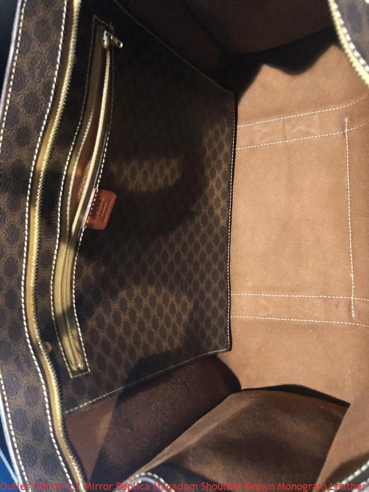 Outlet Céline 1 1 Mirror Replica Macadam Shoulder Brown Monogram Leather  Weekend Travel Bag celine replica bag price bf6e6f6e5925f
