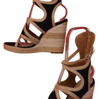 Perfect Balenciaga 1 1 Mirror Replica Black Beige Color Leather Canvas  Gladiator Platform Sandals 9 Wedges Balenciaga replica 2ae1bd9e07d62