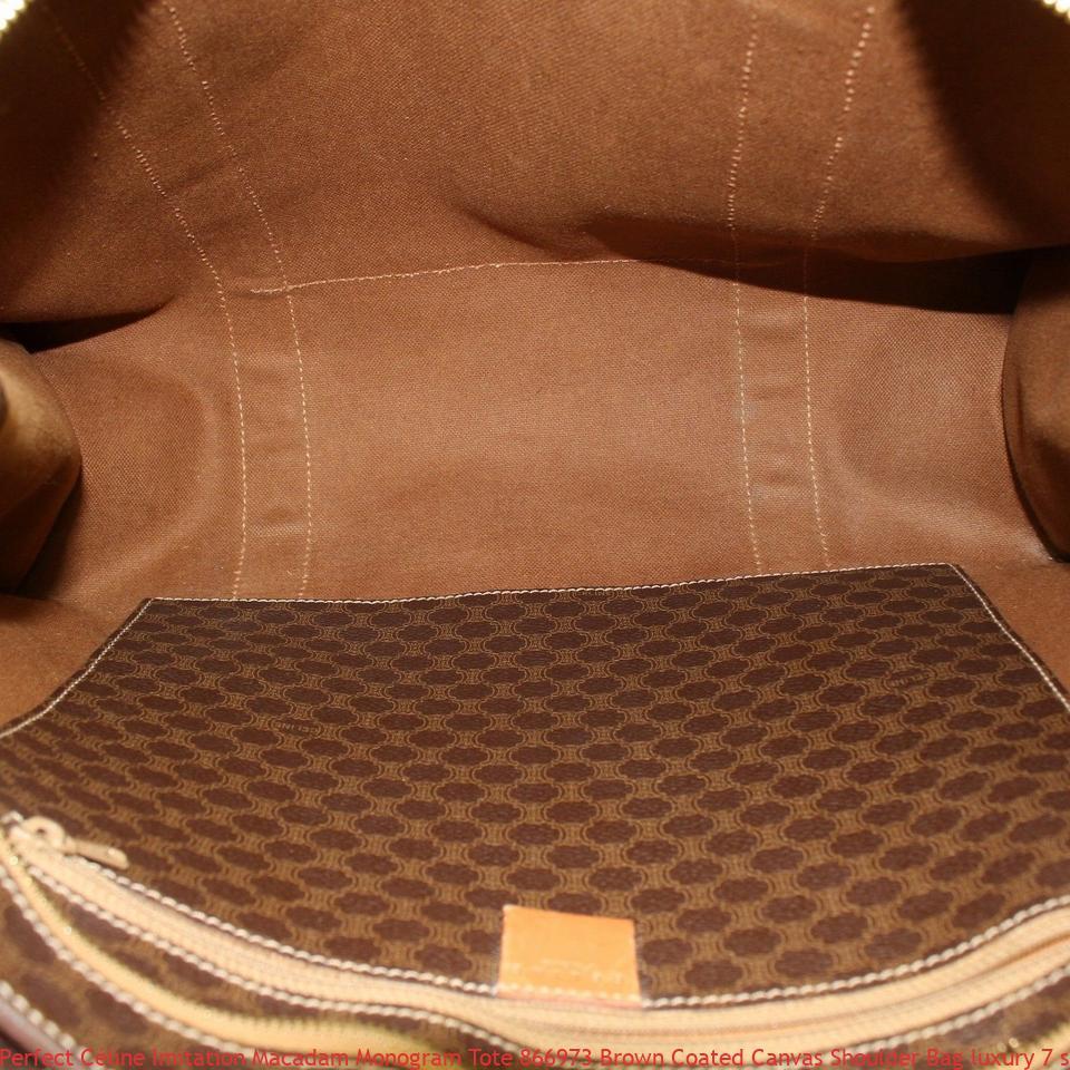 54e3615d01fd Perfect Céline Imitation Macadam Monogram Tote 866973 Brown Coated Canvas  Shoulder Bag luxury 7 star replica handbags