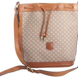 3e71fa88e90b ... Top Designer Qualities Céline AAA Replica Macadam Vintage Drawstring  Bucket Brown Coated Canvas Shoulder Bag high quality designer replica  handbags ...